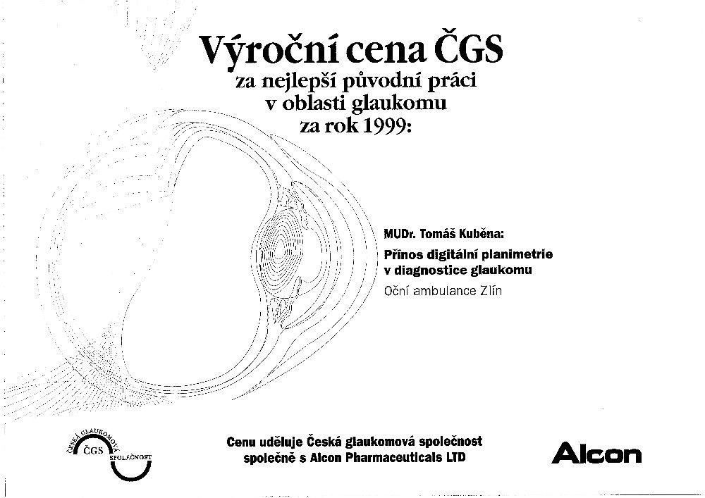 Výroční cena ČGS za rok 1999
