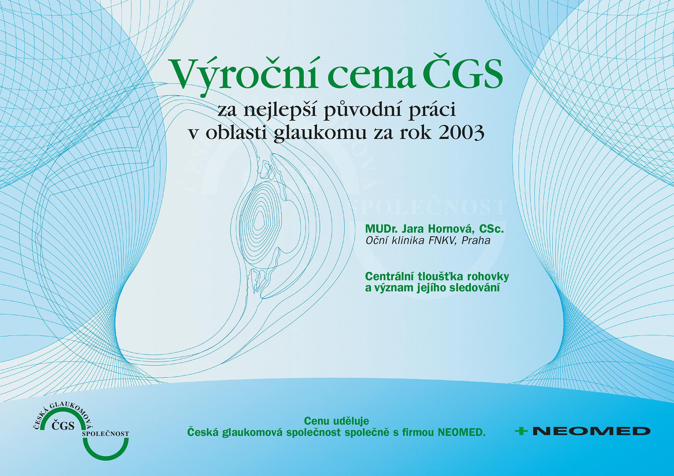 Výroční cena ČGS 2003