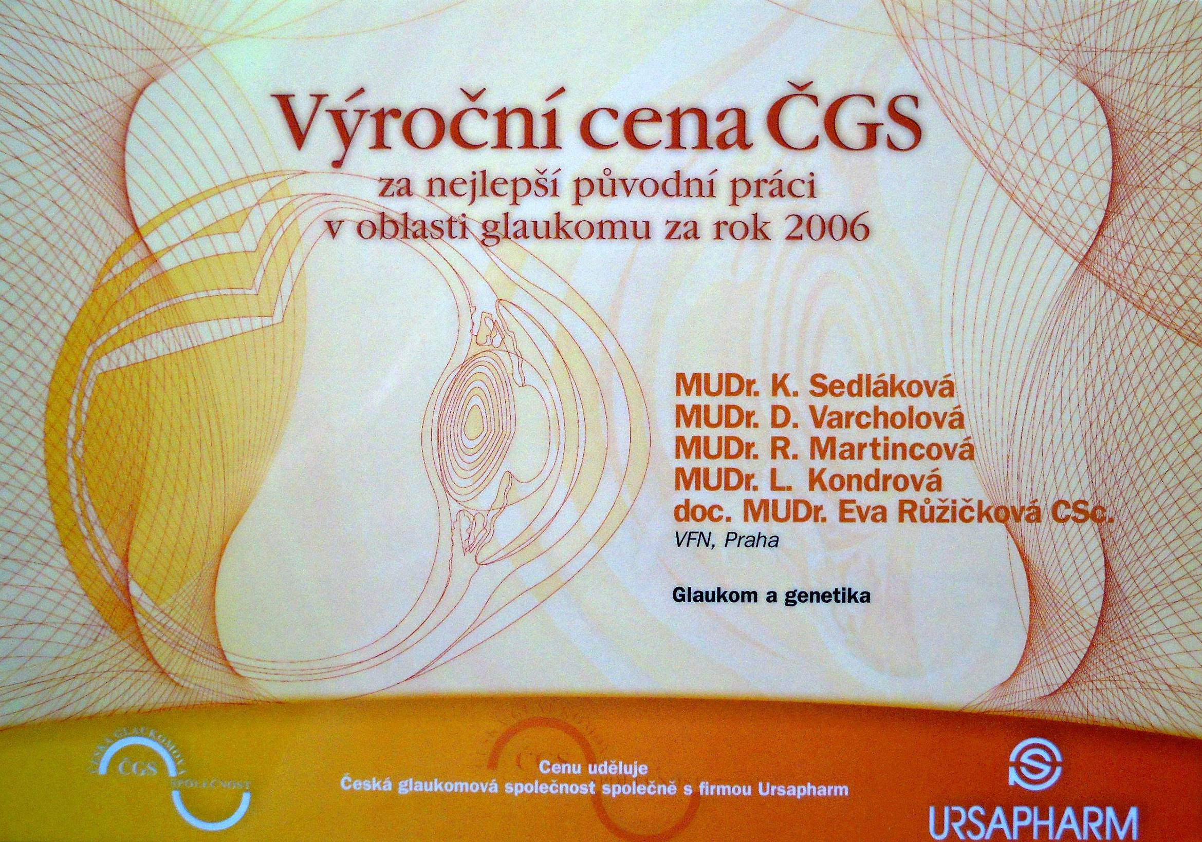Výroční cena ČGS 2006