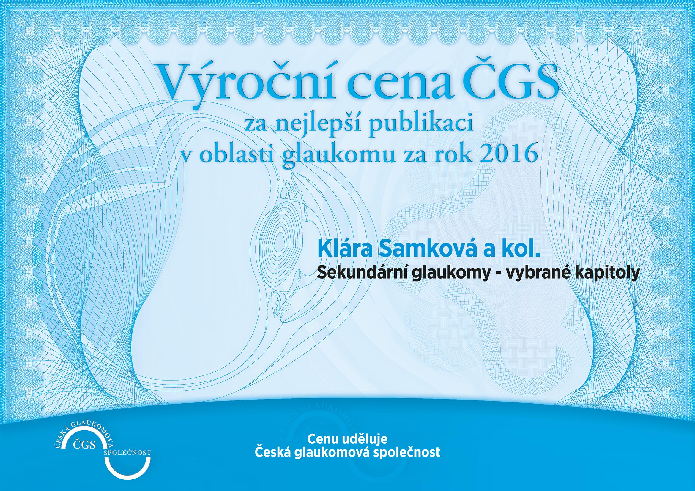 Výroční cena ČGS 2016